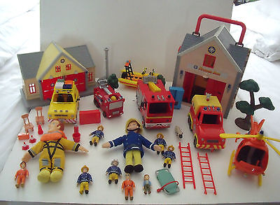 Fireman Sam  Rescue Vehicles, Fire Stn, Figures,  Helicopter, Toys, Bundle