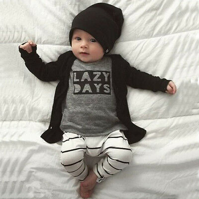 2pcs Newborn Toddler Baby Boys Girls Outfits T-shirt Tops+Pants Clothes Set NEW2