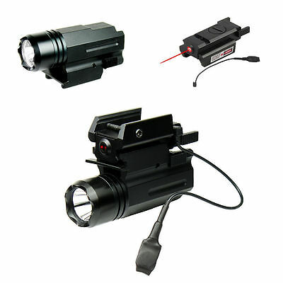 CREE LED Flashlight Red Laser/Sight For Pistol Airsoft Hunting Mount Combo
