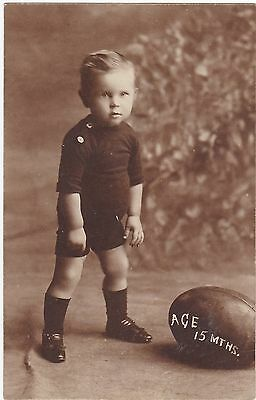 Nz Real Photo Rugby Junior All Black ? Postcard