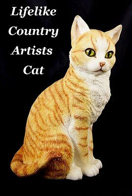 Country Artist Ginger Tabby Sitting Large Lifelike Figure