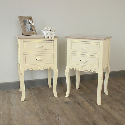 pair of cream country wooden bedside tables shabby vintage chic  style bedroom