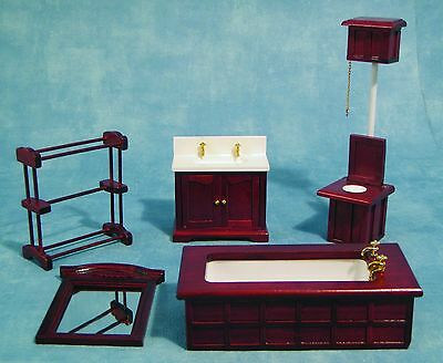 DOLLS HOUSE 1/12th SCALE  5 PC MAHOGANY BATHROOM SET
