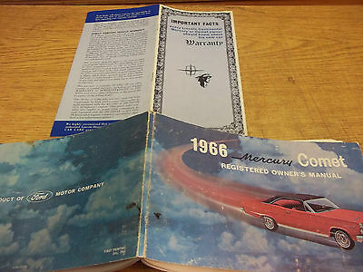 1966 Mercury Comet Owner's Manual, 56 pages & Warranty Booklet, 8 pages