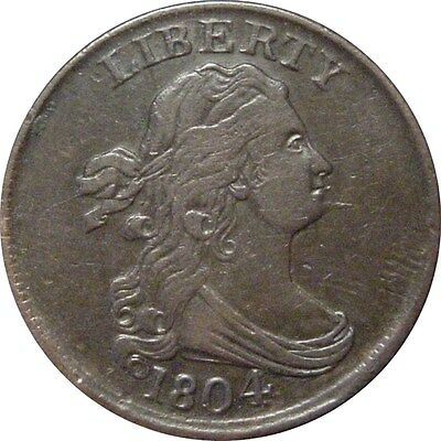 1804 Draped Bust Half Cent--Spiked Chin--Sharp Extra Fine
