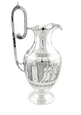 Antique Victorian Sterling Silver Jug - 1871 - Roman Soldiers
