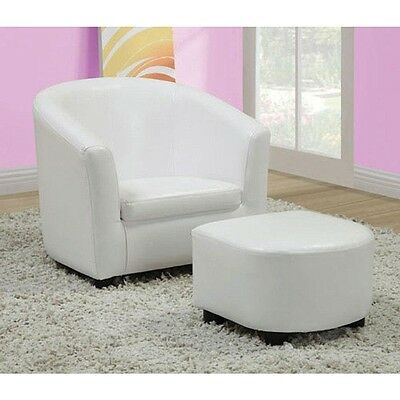 White Leather-Look Juvenile Chair / Ottoman 2-Piece Set