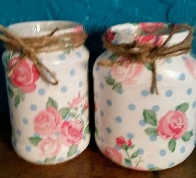Vintage / Shabby Chic Decoupaged  Jars - Pink Flowers & Blue Spots