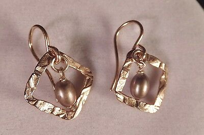 VINTAGE 14 kt  YELLOW GOLD PEARL SOLITAIRE & GOLD PICTURE FRAME PIERCED  EARRING