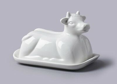 CKS WM Bartleet & Sons White Porcelain Ceramic Cow Butter Spread Dish T209