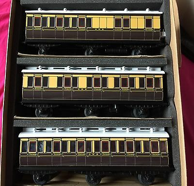 Ace Trains C4 O Gauge Set Of 3 Gwr Brown Cream Clerestory Coaches Boxed