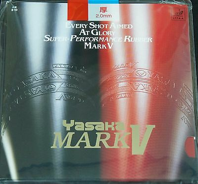 Yasaka Mark V Table Tennis Blade Ping Pong Rubber, Red or Black, 2.0mm or Max