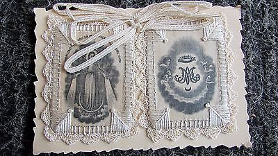 VINTAGE ANTIQUE RARE HAND MADE SILK EMBRODERY SCAPULAR VIRGIN MARY 1900s