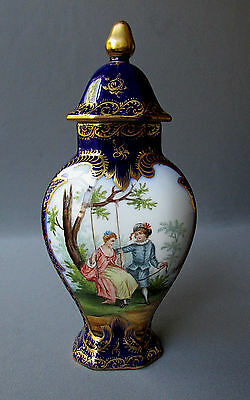 """Small ANTIQUE Hand Painted DRESDEN 9"""" COVERED URN with COURTING SCENES 1860"""