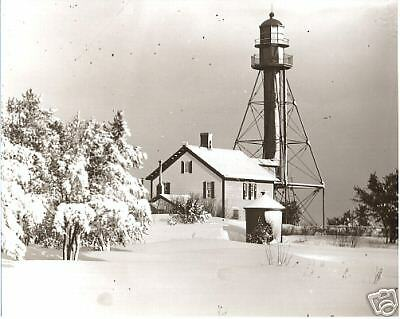Whitefish Point Michigan Lighthouse Snow From Glass Negative 1890 Lake Superior