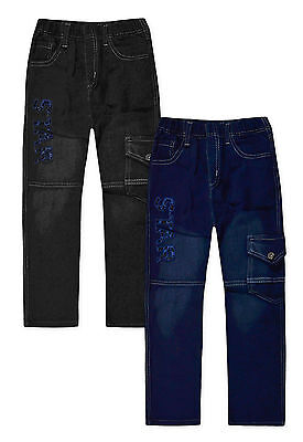 Boys Jeans New Kids Blue Black Star Straight Denim Trousers Ages 2-12 Years