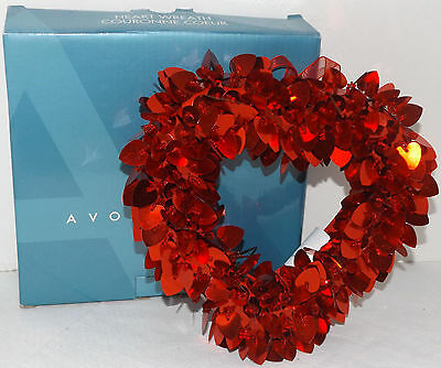"Avon Heart Wreath plush red beaded valentines 8"" x 7"""