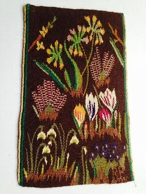 Vintage Swedish Handwoven Flemish Tapestry - Flowers