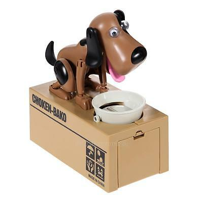 Lovely Kids Dog Puppy Stealing Coin Money Penny Cents Piggy Bank Saving Box