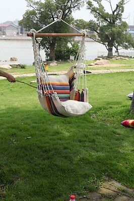 Hanging Seat Tree Hammock Swing Chair Camping Patio Outdoor Canvas Solid strip b