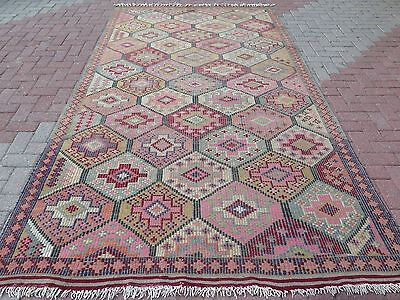 "Anatolia Antalya Nomad's Embroidered Kilim 68,5"" x 125,9"" Area Rug Kelim Carpet"