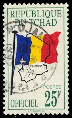 """CHAD O16 (Mi D13A) - National Flag and Map """"Official Postage"""" (pf60721)"""