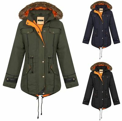 Unisex Kids Girls Boys Fishtail Jacket Contrast Parka Inner Quilted