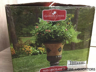 "Easy Assembly Garden Oasis Outdoor Living Tiled Urn Planter  (15"" x 15"" x 21"")"