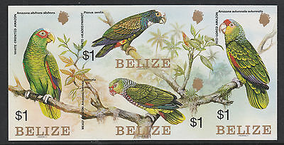 Belize (S85) 1984 Parrots $1 IMPERFORATE block of 4 unmounted mint