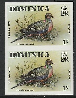 Dominica (S87) 1978 definitives 1c Mourning Dove IMPERF PAIR  unmounted mint