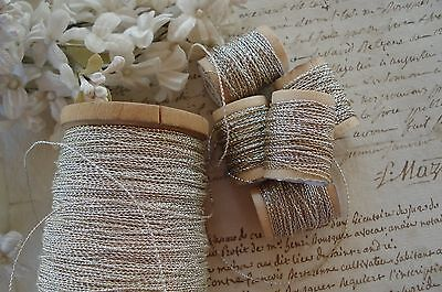 5y VINTAGE FRENCH SILVER SQUIGGLE TWIST METAL METALLIC EMBROIDERY THREAD FLY