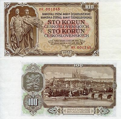 "CZECHOSLOVAKIA 100 Korun Banknote World Paper Money UNC Currency Pick p-86b ""HE"""