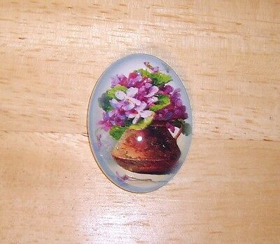 Violets In Vase Glitter Unset Handmade Art Bubble Cameo Cabochon 30X40mm