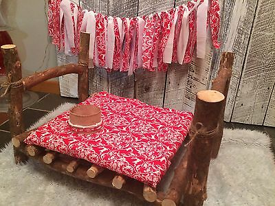 Newborn Baby Real Wood Log Bed Photography Prop 4 Pc Xmas Set