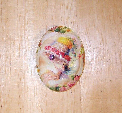 Fairy On Flower Bell Glitter Unset Handmade Art Bubble Cameo Cabochon 30X40mm