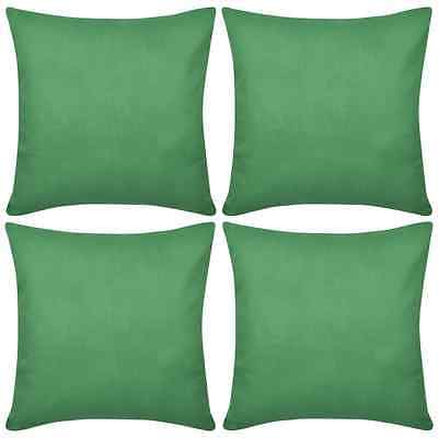 4 Cushion Cover Pillow Case Soft Cotton Fabric Green Square Home Sofa Bed Decor
