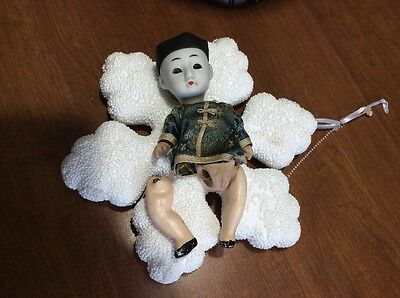VINTAGE BISQUE Miniature JAPAN JAPANESE ASIAN CHINA BOY JOINTED DOLL GLASS EYES
