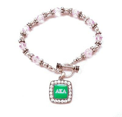 Alpha Kappa Alpha Sorority Pink Beads Greek Letter Pendant Bracelet/