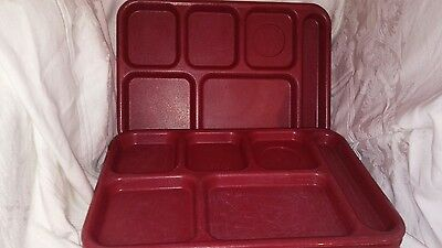 "Lot Of 4 Cambro Bct1014 14.5"" X 10"" Red Cafeteria 6-Compartment School Trays"