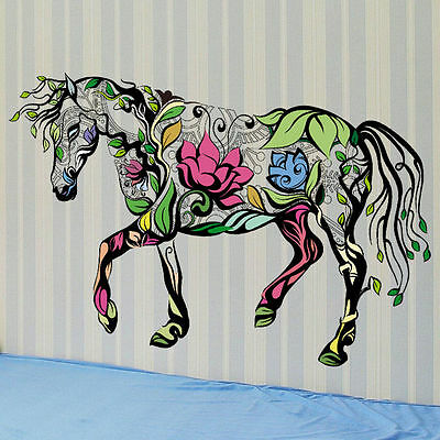 Removable Multicolor Horse Hollow Wall Stickers Room Decor PVC Mural Art Gifts