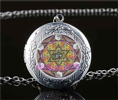 Eye of Horus Photo Cabochon Glass Tibet Silver Locket Pendant Necklace