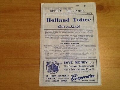1956 Sothport Fc V Coventry City Fc Testimonial 4 Page Programme