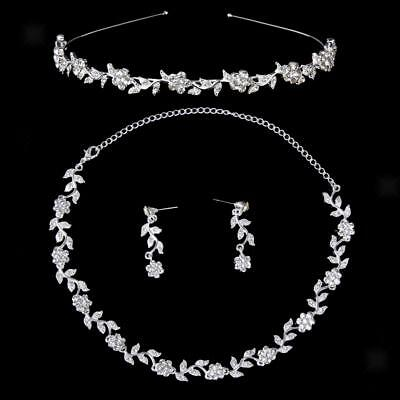 Crystal Flower and Leaves Wedding Tiara Bridal Headband Necklace Earrings Set