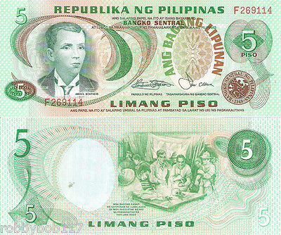 PHILIPPINES 5 Piso Banknote World Paper Money UNC Currency Pick p-160c Bill Note