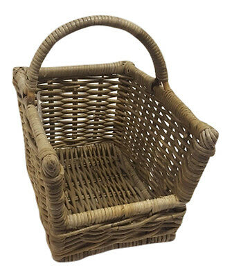 Grey Rattan Wicker Open Log Storage Baskets / Fireside / Magazines / Handle