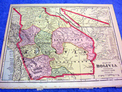Antique Map Of Bolivia       From  1899  Beautifully Colored    Look!