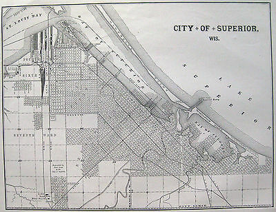 Antique City Map Of Superior Wisconsin  W/ Railroads & Webster Manufacturing Co.