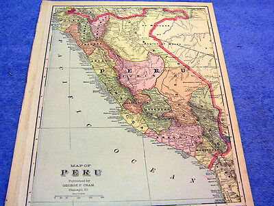 Antique Map Of Peru W/ Ande Indians    From  1901   Beautifully Colored    Look!