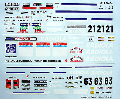 DECAL 1/43 - RENAULT R 5 GT Turbo / R 11 Turbo - RADIOLA - Tour de Corse 87