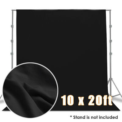 10 x 20ft Polyester Black Muslin Photo Backdrop Photography Wrinkle Free